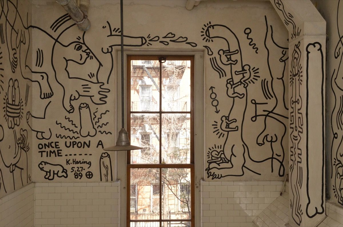 Mural painted on the walls of the Manhattan LGBT Centre by Keith Haring, titled Once Upon a Time